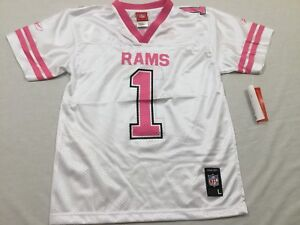 M104 New NWT REEBOK Los Angeles Rams Youth Pink #1 Girls Jersey S,M,L,XL
