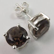Hot Fashion Stud Earrings Real SMOKY QUARTZ Gemstones 925 Solid Sterling Silver