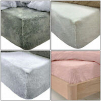 Teddy Bear Fleece Soft Fitted Sheet Sherpa Fluffy Warm Cosy Bedding Fitted Sheet