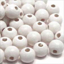 Lot de 100 PERLES en BOIS 8mm Blanc pour Bijoux attache tétine chapelets