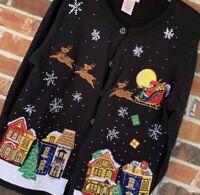 Basic Editions Black Christmas Village Holiday Ugly Sweater Cardigan, Size Large