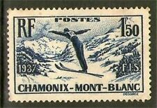 TIMBRE N° 334 OBLITERE - CHAMPIONNATS DE SKI A CHAMONIX