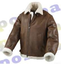MEN'S REAL SHEEPSKIN AVIATOR FLYING JACKET - Brand New - TAN BROWN GENUINE NAPPA