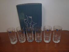 Set of 6  BOHEMIA sparkling BEECHER crystal hi-ball tumblers. Heavy based. NEW