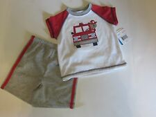 NWT Little Me 2 Pc Fireman Poly Sleepwear Shirt & Shorts Toddler Boys 24 M $26