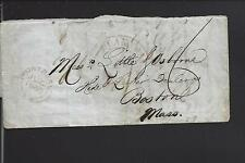BOSTON, MASSACHUSETTS 1853 INCOMING STAMPLESS X BORDER COVER FROM CANADA.