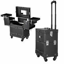 Professional PVC Black Makeup Rolling Train Case Lockable Cosmetic Wheeled Box