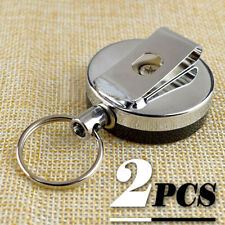 Retractable Pull Holder Snap Recoil Steel Chain Reel Metal Belt Clip Key Ring