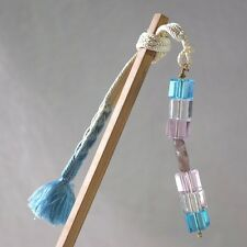 """Crystal"" Japanese Style Hairstick Accessory with Woven Himo Tie & Beads"
