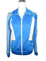Adidas Track Jacket Blue White Large Women's Retro Full Zip Athleisure Stretch
