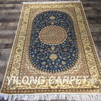YILONG 4'x6' Hand Knotted Silk Persian Area Rug Medallion Carpet Blue Y400C