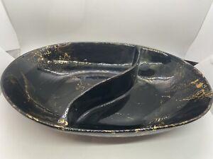 """Sascha Brastoff """"Surf Ballet"""" Black Sectioned Oval Serving Bowl."""