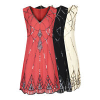 1920's Vtg Charleston Downton Flapper Gatsby Sequin Embellished V Dress New 8-24