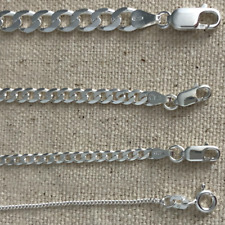 925 sterling silver Italian solid chain curb Cuban Mens Womens Necklace Usa