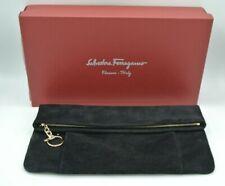 Salvatore Ferragamo Envelope Clutch Purse M Black Suede Folding Handbag #1006
