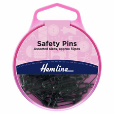 Assorted Black Safety Pins Pack of 50 Safety Pins In a Reuseable Box