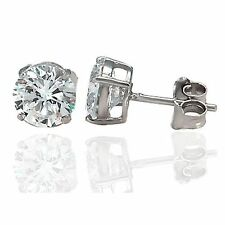 925 Sterling Silver Jewellery,Round CZ Stud Earrings 6mm NEW, Bargain