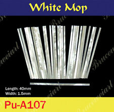 Free Shipping, Straight White Mop Purfle 40mm x 1.5mm (30pcs) (Pu-A107)