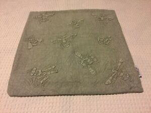 Shabby Chic GRAY Embroidered BEES! Throw Pillow cover RETIRED! ADORABLE!