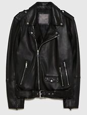 ZARA MAN 100% LEATHER BIKER JACKET (9953/403) SIZES: S & M. S'18