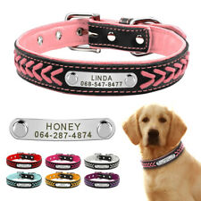 Braided Personalized Dog Collar Leather with Padded Pet Name ID Tag Engraved