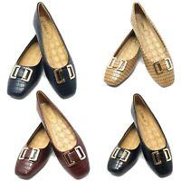 Women Ballet Flats w/ Bow Buckle, Classic Ballerina Slip-On Slipper Shoes