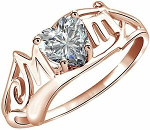 """Heart Shaped Simulated Diamond """"MOM"""" Ring in Sterling Silver"""