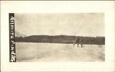 Snowshoeing Snowshoes - Gilmore Pond ME or NH? c1910 Real Photo Postcard