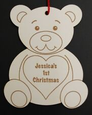 Personalised Baby's 1st Christmas Wooden Christmas Tree Bauble Decoration