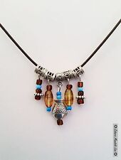 Handmade Necklace Pendant, Silver Fish Turquoise & Brown Cord, Gypsy Fashion