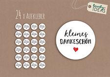 """24 x Geschenkaufkleber """"kleines Dankeschön"""" 40mm weiß Etiketten Aufkleber"""