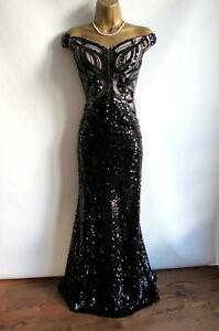 Brand new Lipsy black sequined bardot MAXI dress size 12