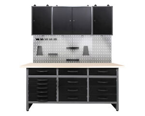 Ondis24 Werkstatt Set Konny 160 cm Werkbank 3 x Werkzeugschrank Metall LED