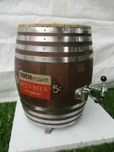 Vintage Richardson 5 Cent Root Beer Refrigerated Wood Barrel Dispenser