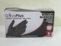 Gloves Black Nitrile Gloves Large Latex Free Textures Polymer Coated Powder Free