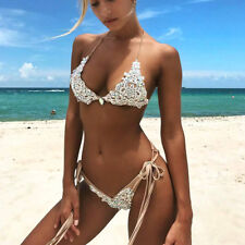 Women Bikini Set Lace Patchwork Crystal Inlaid Metal Straps Swimsuits Two Pieces