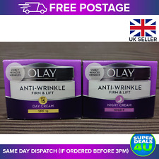 Olay Anti-Wrinkle Day & Night Cream BUNDLE Firm & Lift with Skin Renewal 50ml UK