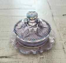 VINTAGE OPALESCENT GLASS COVERED BUTTER DISH BLUE AMETHYST