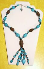 Vintage Coldwater Creek Turquoise Tassle Silver Necklace Southwestern Style