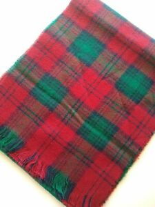 Christian Dior Cashluxe Scarf Red Green Navy Plaid Mexico 100% Acrylic vintage