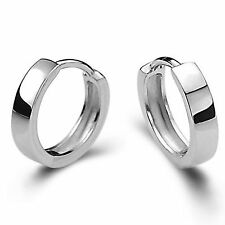 Silver Cool Fashion Unisex Men Women Smooth Round Hoop Earrings Gift Jewelry New