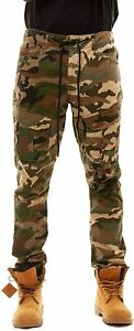 Smoke Rise Men's Slim Fit Tapered Twill Stretch Cargo Pant Woodland Camo