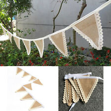 Wedding Party Decor Rustic Lace Vintage Jute Hessian Burlap Chic Banners Bunting