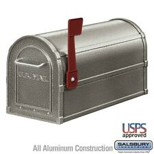 """Salsbury Deluxe Rural Mailbox - Pewter-Mailbox 4850D-Pew 7.5"""" x 9.5"""" x 20.5"""" New"""
