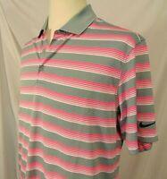 Nike Golf Dri-Fit Polo Golf Shirt Mens Size M Grey Pink Stripes