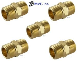 "3/8"" Brass Hex Pipe Nipple NPT Threaded Connector Adapter (5-Pack) <122A-Cx5"