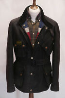 £279 Mens Barbour Union Jack black waxed belted biker jacket XL XXL