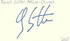 Darryl Sutter Chicago Nhl Hockey Autographed Signed Index Card