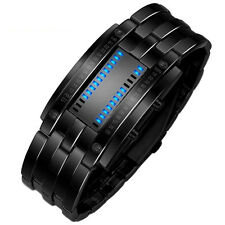Einzigartige Binäre Herrenuhren Damenuhr Edelstahl LED Digital Uhr Armbanduhren