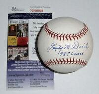 CARDINALS Lindy McDaniel signed baseball w/ 987 Games JSA COA AUTO Autographed